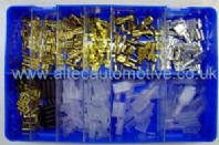 Kit of assorted male & female un-insulated crimp terminals + covers. ALT/RKB028-1-09